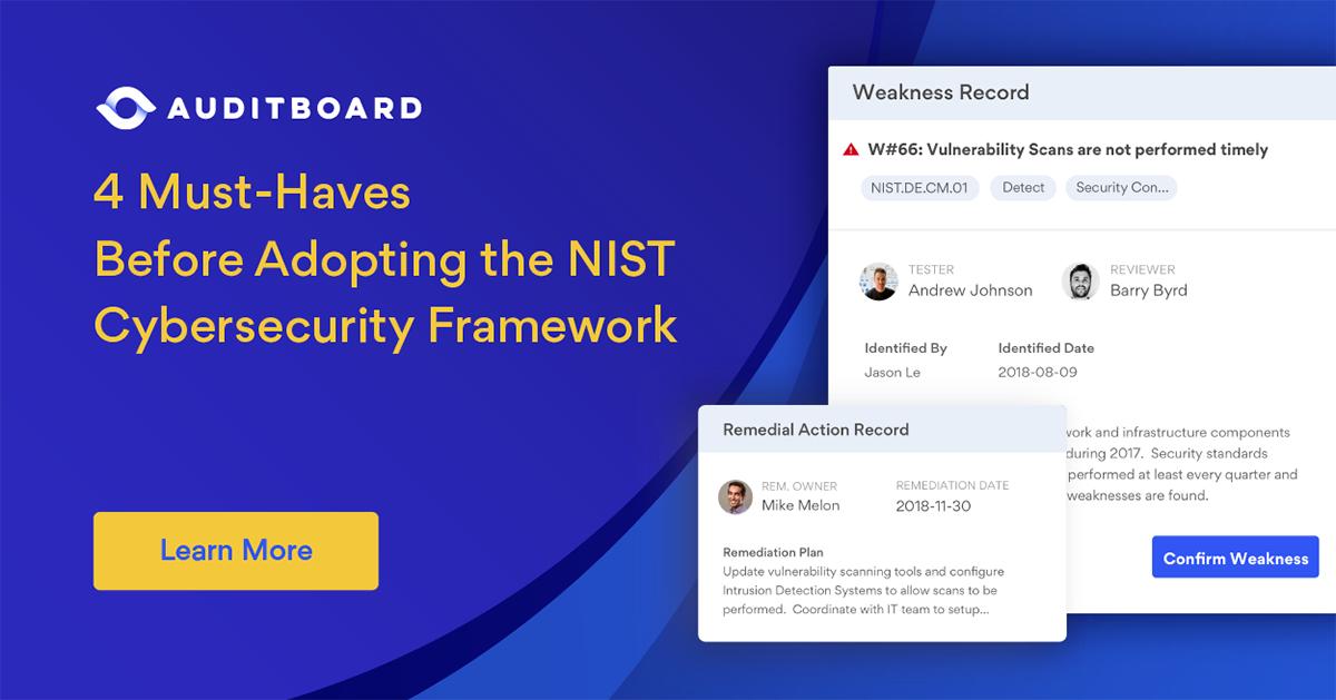 NIST Cybersecurity Framework | AuditBoard