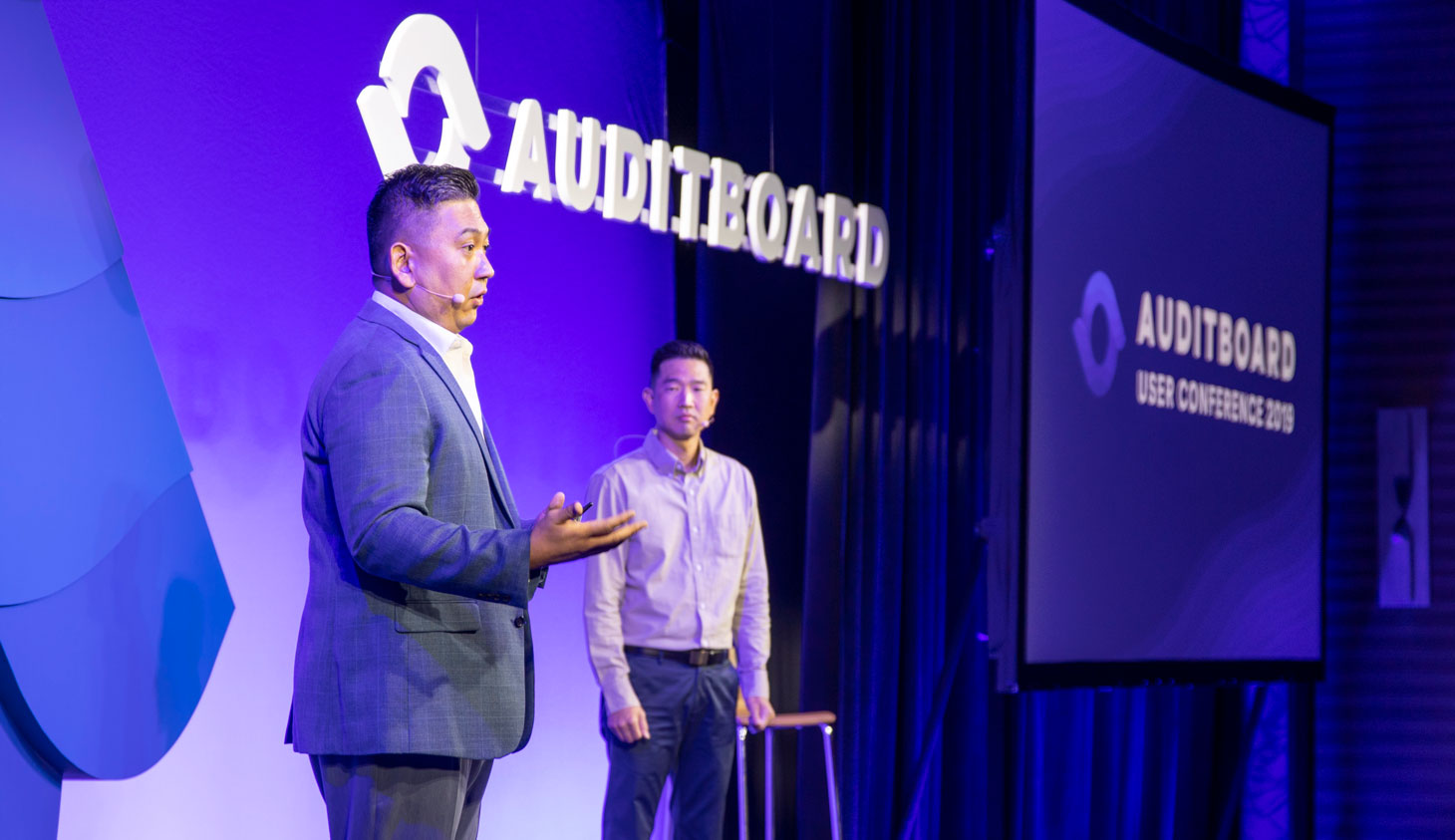 AuditBoard co-founders Jay Lee and Daniel Kim take the stage for the AuditBoard User Conference Keynote